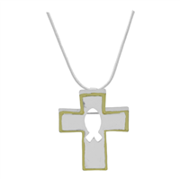 Stylish Spiritual Two-Tone Ichthys Silhouette Cross Pendant Pin Brooch Necklace