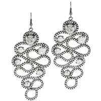 Trendy Fashionable Wavy Round Sparkling Clear Crystals Silver Toned Drop Earrings