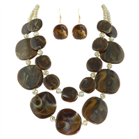 Brown Swirl Mix Oval Glass Yellow Beaded Necklace Set