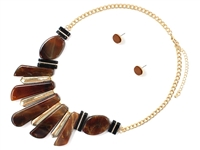 Elegant Black & Gold Bar Brown Acrylic Stone Gold Necklace Set