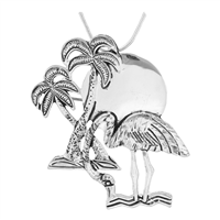 Seasonal Silver Flamingo & Palm Tree Fashion Pin Brooch Pendant Charm