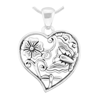Lively Nature Silver Flower & Butterfly Heart Pendant Charm