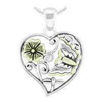 Lively Nature Two-Tone Flower & Butterfly Heart Pendant Charm