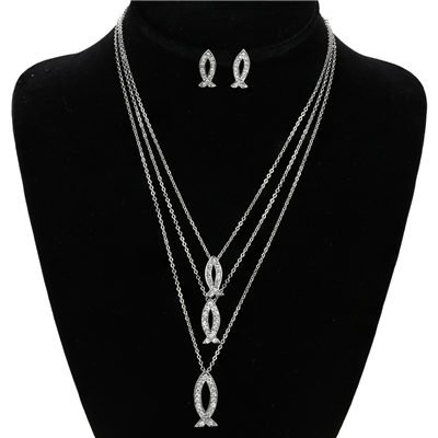 CRYSTAL ICHTHYS NECKLACE SET