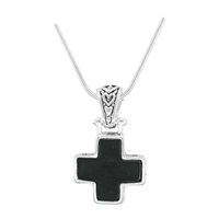 Stylish Reversible Small Cross Silver & Black Pendant Charm Necklace