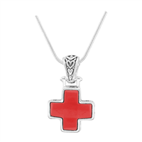 Stylish Reversible Small Cross Silver & Red Pendant Charm Necklace