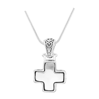 Stylish Reversible Small Cross Silver Pendant Charm Necklace