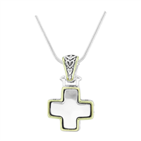 Stylish Reversible Small Cross Silver & Two-Tone Pendant Charm Necklace