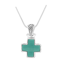 Stylish Reversible Small Cross Silver & Turquoise Pendant Charm Necklace