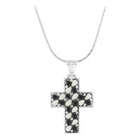 Hopeful & Simple Silver, Black & White Oval Stone Cross Pendant Charm Necklace