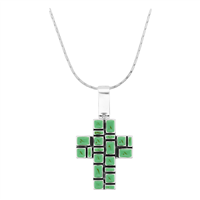 Unique & Stylish Silver & Teal Squared Cross Magnetic Pendant Charm Necklace