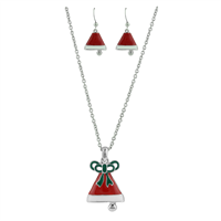 RED WHITE GREEN SANTA HAT NECKLACE SET