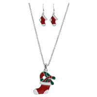 THE STOCKING NECKLACE SET | RED/WHITE/GREEN