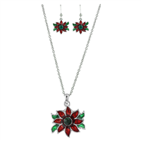 CRYSTAL POINSETTIA NECKLACE SET