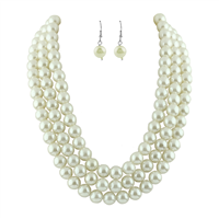 CREAM COLOR FAUX PEARLS NECKLACE SET