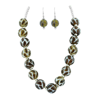 Elegant Yellow & Brown Mix Leopard Print Glass Beaded Silver Necklace Set