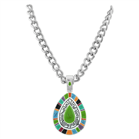 Stylish Multi Colored Oval Magnetic Pendant Necklace