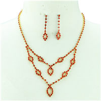 SIAM CRYSTAL TEAR DROP NECKLACE SET
