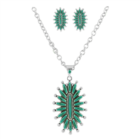 Elegant Vertical Mandala Design Turquoise & Silver Necklace Set