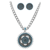 Stylish Light Blue Colored Mandala Flower Necklace Set