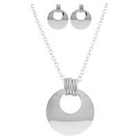 Stylish 3 Ring & 5 Ring All Silver Necklace Set