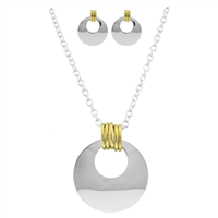 Stylish 3 Ring & 5 Ring Two-Tone Gold & Silver Necklace Set