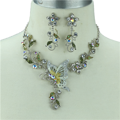 AUSTRIAN CRYSTAL BUTTERFLY NECKLACE SET