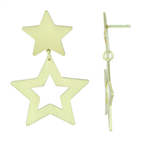 Devoted & Stylish Gold Toned Double Star Dangle Stud Earrings