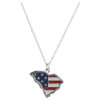 Patriotic Red, White & Blue South Carolina Flag Necklace