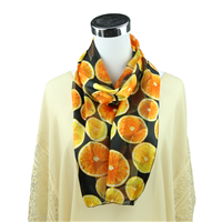 Bright Yellow/Orange Oranges Print White Silk Scarf