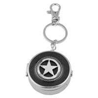 Dual Function Round Silver & Black Star Pill Box Keychain