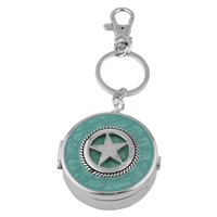 Dual Function Round Silver & Turquoise Star Pill Box Keychain