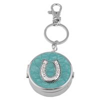 Dual Function Round Silver & Turquoise Horseshoe Pill Box Keychain