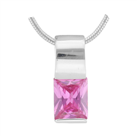 Gorgeous Sparkling Silver & Rose Crystal Cubic Zirconia Sterling Silver Empress Pendant Charm