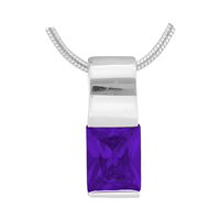 Gorgeous Sparkling Silver & Amethyst Crystal Cubic Zirconia Sterling Silver Empress Pendant Charm