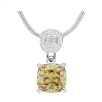 Gorgeous Sparkling Silver, Clear & Topaz Crystal Cubic Zirconia Sterling Silver Everlasting Pendant Charm