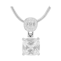 Gorgeous Sparkling Silver & Clear Crystal Cubic Zirconia Sterling Silver Everlasting Pendant Charm
