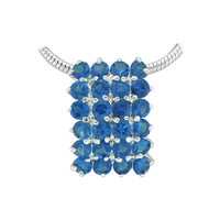Gorgeous Sparkling Silver & Sapphire Crystal Cubic Zirconia Sterling Silver Empire Pendant Charm