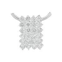 Gorgeous Sparkling Silver & Clear Crystal Cubic Zirconia Sterling Silver Empire Pendant Charm