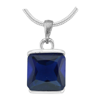 Gorgeous Sparkling Silver & Sapphire Crystal Cubic Zirconia Sterling Silver Royal Pendant Charm