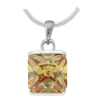 Gorgeous Sparkling Silver & Topaz Crystal Cubic Zirconia Sterling Silver Royal Pendant Charm