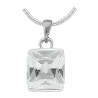 Gorgeous Sparkling Silver & Clear Crystal Cubic Zirconia Sterling Silver Royal Pendant Charm