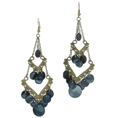 BLACK CHARM DOUBLE DROP EARRINGS