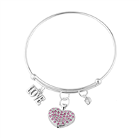 Pink Crystal Heart & Love Charm Bangle Bracelet