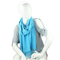 Fashionable Stylish Solid Aqua Blue Fringed Scarf
