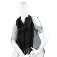 Fashionable Stylish Solid Midnight Black Fringed Scarf