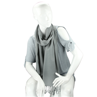 Fashionable Stylish Solid Smokey Gray Fringed Scarf