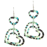 Lightweight Valentine Triple Acrylic Blue Mix Heart Silver Toned Post Dangle Earrings