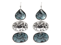 Turquoise & Silver Oval Hammered Charm Post Dangle Earrings