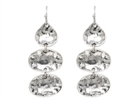 All Silver Oval Hammered Charm Post Dangle Earrings